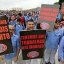 Trabalhadores da Volks protestam contra a reforma da Previdência
